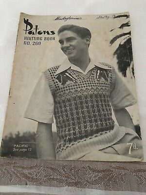 Patons Knitting Pattern Book No 260 ~ Men's Jumpers and Vests