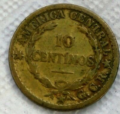 1921 Costa Rica 10 Centimos Lot#x8544 Coins Central America