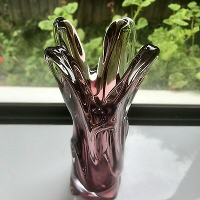 Vintage Art Glass Finger Vase Italian Murano Style Gorgeous Collectable