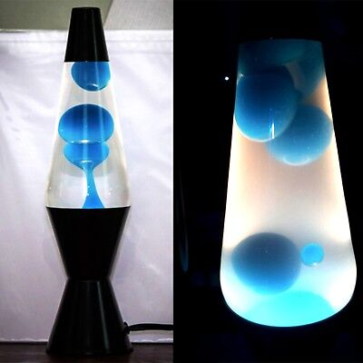 Lava Lamp Original Neon Blue Wax Clear Liquid Black Base 14.5 inches