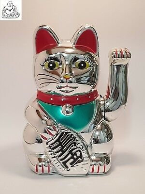 "Feng Shui Silver Waving Lucky Money Cat (Maneki Neko) 180mm(18cm) ""Good Luck"""