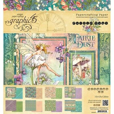 Graphic 45 Fairie Dust 8x8 Paper Pad craft cardmaking faries flowers fantasy art