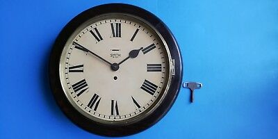 #089 ANTIQUE 1920s SMITH 8-DAY OFFICE/SCHOOL  WALL CLOCK