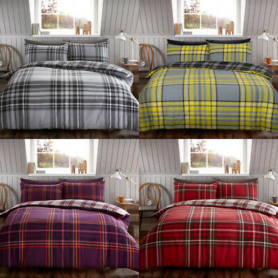 Brushed Cotton Flannelette/Flannel Charter Stripe Quilt Duvet Cover Double King