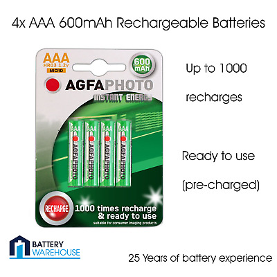 4 x AgfaPhoto AAA 600 mAh Rechargeable Batteries Cordless Phone Solar HR03 NiMH