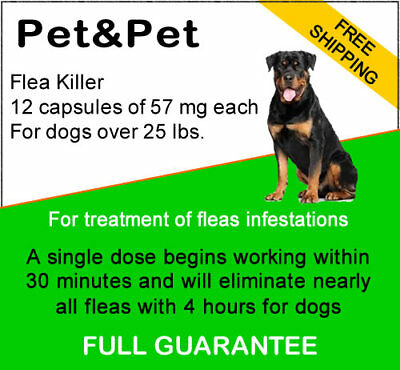 12 capsulesFlea killer 57 mg by capsule for dogs  over 25 lbs