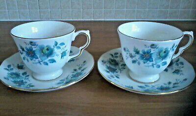 2 x Queen Anne Fine Bone China Tea / Coffee Cups,Saucers.Turquoise Blue Floral