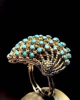 Antique Islamic 19th Century Hand Made Solid Gold Ring NATURAL PERSIAN TURQUOISE