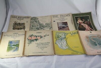Antique Sheet Music Lot 8Pc Collection Art Covers Large Format Rolfe Dorn Ascher