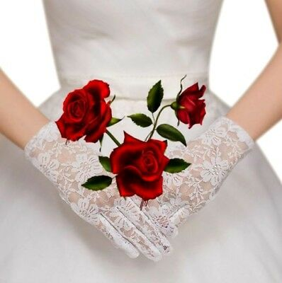 Soft stretchy white lace bridal gloves