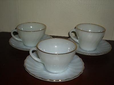 Vintage 1950's  6 PC. Oven Fire King Cups and Saucers