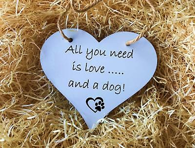 All You Need Is Love & A Cat/Dog - Wooden Hanging Heart Plaque 18cm Funny Pet