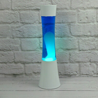 """Bliss Motion Large Lava Lamp Relaxing Light Blue Liquid White Wax Gift 15"""" tall"""