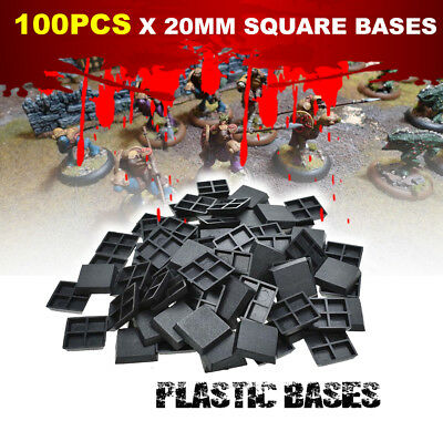 100pcs - 20mm Square Bases Made from Plastic for War Games Bases for Warhammer