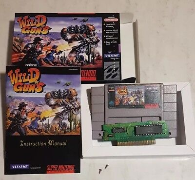 Wild Guns Super Nintendo Real Cartridge SNES & High Quality Box and Manual Repro