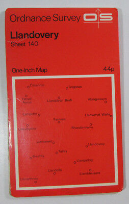 1967 old vintage OS Ordnance Survey One-inch Seventh Series Map 140 Llandovery