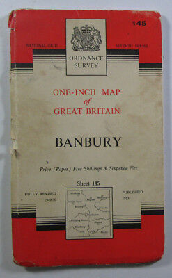 1960 Old Vintage OS Ordnance Survey Seventh Series One-Inch Map 145 Banbury