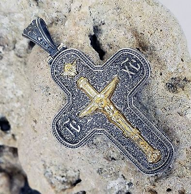 Antique Greek Byzantine Cross Pendant 925 Sterling Silver Gold Plated Code 11240