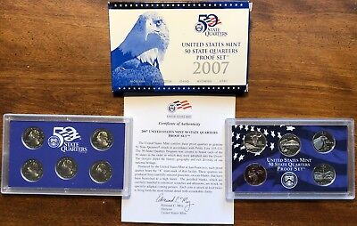 2007 US Mint 50 State Quarters Proof Set with Box and COA