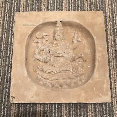 Ancient China Song Dynasty Stone Carved Tile With buddha From A Temple