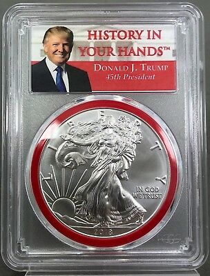 2018 TRUMP-History In Your Hands 45th President PCGS MS70 Silver Eagle  2nd YEAR