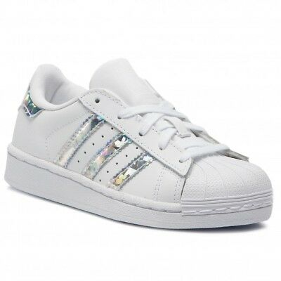 Scarpe Adidas Superstar Iridescent CG6708 Bambina Bianco Pelle Lacci Nuovo shoes
