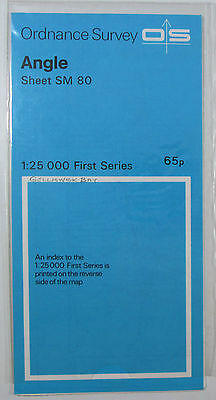 1969 old vintage OS Ordnance Survey 1:25000 First Series map SM 80 Angle