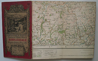 1924 old vintage OS Ordnance Survey one-inch Popular Edition Map 25 Ribblesdale