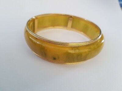 Art Deco Yellow Green Marbled Bakelite & Gilt Metal Cuff Bangle  Tested