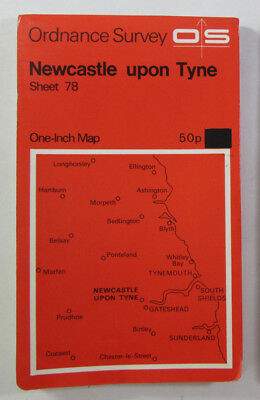 1972 Old Vintage OS Ordnance Survey Seventh Series One Inch Map 78 Newcastle