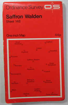 1968 vintage OS Ordnance Survey Seventh Series one-inch Map 148 Saffron Walden