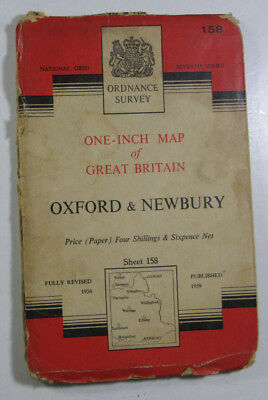 1959 Old OS Ordnance Survey Seventh Series One-Inch Map 158 Oxford & Newbury