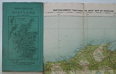 """Approx 1922 Old Vintage Bartholomew's """"Half-Inch to Mile"""" map Caithness District"""