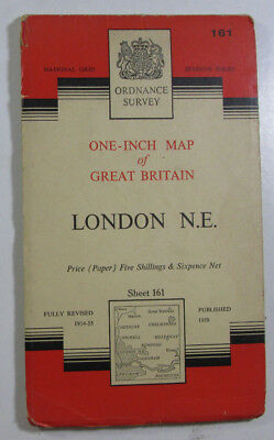 1960 Old Vintage OS Ordnance Survey Seventh Series One-Inch Map 161 London N E
