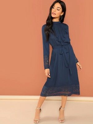 ec7d2045f4 SHEIN Jabot Collar Guipure Lace Trim Belted Dress Long Sleeve Navy Size  Small