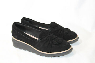 a0936a8aba0 Clarks 10 wide black Suede Slip On Loafer Knotted Detail Sharon Dasher