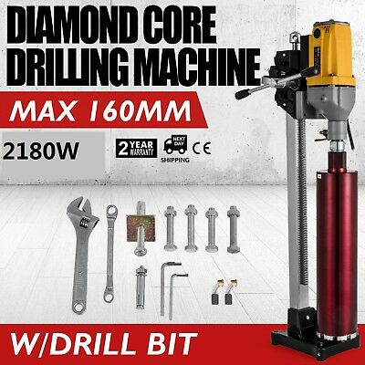 New Diamond Concrete Core Drill Machine Vertical Stand Press Drilling W/Bits