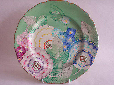 Art Deco Grays scalloped edge Colourful Large Plate Hand Painted & Gilded