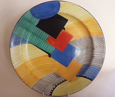 Iconic Art Deco Grays Susie Cooper Geometric 'Cubist' handpainted Charger  #8071