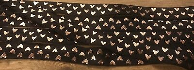 Black with Rose Gold Tiny HEARTS Fold Over Elastic, FOE, elastic by the yard