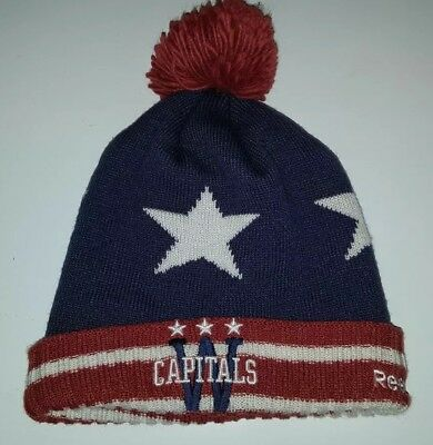 Washington Capitals Reebok NHL Knit Pom CENTER ICE Hat Beanie CAP AMERICA  USA 3c9b58d04e91