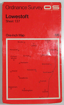 1969 old vintage OS Ordnance Survey one-inch Seventh Series Map 137 Lowestoft