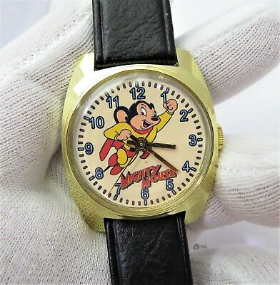MIGHTY MOUSE 1960's Manual Wind,Rare! MEN'S CHARACTER WATCH,403 L@@K!