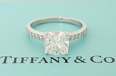 34637f704 Tiffany & Co NOVO 1.70 ct Platinum Cushion Cut Diamond Engagement Ring E/VS1