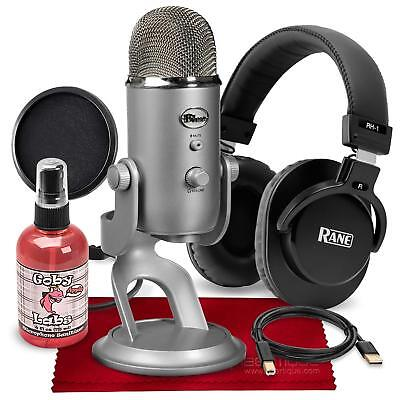 Blue Yeti USB Microphone (Silver) with Studio Monitoring Headphones and Pop Filt