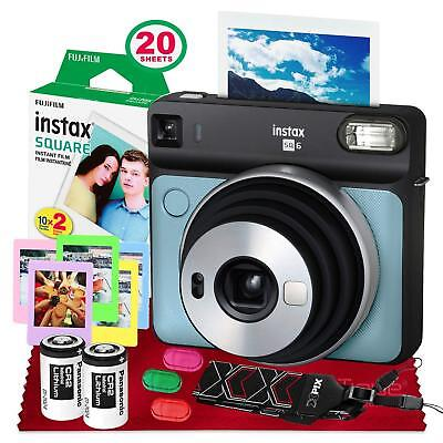 Fujifilm instax Square SQ6 Instant Film Camera (Aqua Blue) with Square Instant F