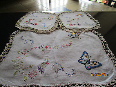 Set Of Three Embroidered &Crocheted Doilies -Butterflies