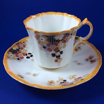 Hammersley Art Deco Orange And Yellow Floral Demitasse Cup and Saucer
