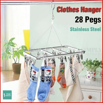 Stainless Steel Clothes Hanger Airer Dryer 28 Pegs Clips Rack Sock Underwear