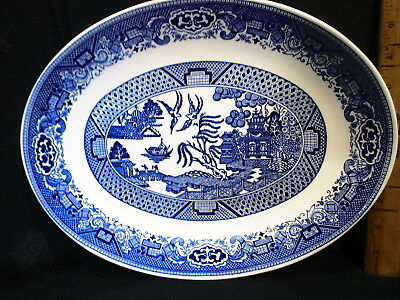 """Vintage Blue Willow Oval Platter 10"""" X 13 """" unmarked"""